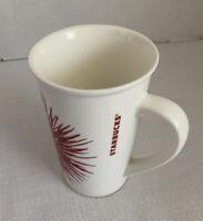 2014 Starbucks Mug White Red Starburst 12fl Oz Large Grip Handle
