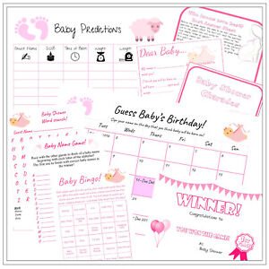 Personalised Baby Shower Party Game Pack, 3 colours, 9 Games Boy/Girl/Unisex