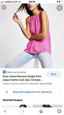 River Island Pink Seqin Halter Neck Top Size 8