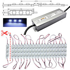 100x LED Module+Power Supply - 230V/12V - 10000K Cold White Advertising Lighting