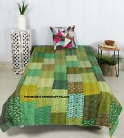 Indian green silk patola kantha quilt handmade reversible bedspread vintage twin