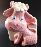 Vintage Cute Pink Cow with Daisy Relpo Retro Baby Nursery Planter 1950s Ceramic