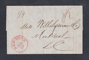 USA 1850's STAMPLESS CROSS BORDER FL NEW YORK TO MONTREAL LOWER CANADA CONTENTS