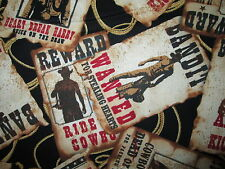 COWBOYS WANTED POSTERS BANDIT REWARD WILD WEST COTTON FABRIC FQ