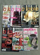 Lot de 6 magazines de cuisine (Elle à table, Jamie Oliver, Papilles) – TBE