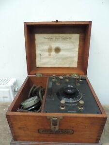 Antique EFESCAPHONE Crystal Radio Receiving Set In Box w/ Headphones
