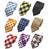 Mens Striped Silky Check Tartan Woven necktie tie wedding event prom party UK