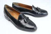 Salvatore Ferragamo Mens Cap Toe Tassel Loafers 9 D Black Leather Slip On Shoes