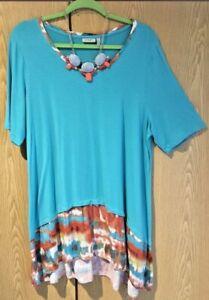 LOGO Lori Goldstein Short Sleeve Top Turquoise w/Tie Dye Womens Size XL (18/20)
