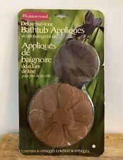 VTG Rubbermaid Bathtub Appliques Two Tone Brown Flower Stickers Retro NOS NIP