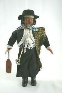 "Vintage Argentina Gaucho Souvenir Doll Ethnic Costume 9"" Tall WB9"