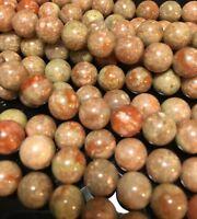 """4mm Epidote/Unakite Round Gemstone Beads Jewellery Making 15.5"""" Strand UK EBAYER"""