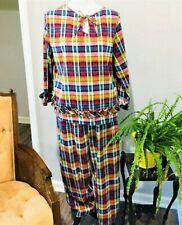 Vintage Tommies by Gotham Gold Stripe Pajama Set Plaid Size 36 See Measurements