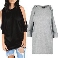 Womens Sweatshirt Ladies Cold Shoulder Knot Baggy Fleece 3/4 Sleeve Jumper Top