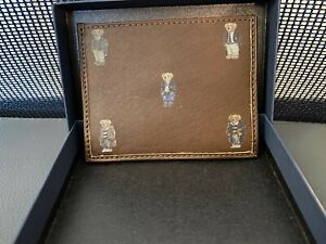 POLO RALPH LAUREN 5 BEARS NAUTICAL LEATHER CARD CASE SLIM WALLET BROWN NIB NEW