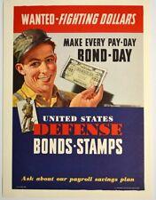 Original WWII Wanted-Fighting Dollars Defense War Bonds Poster WW2 Near Mint