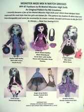 "Ng Creations Pattern #1 Sew Mix N Match Dresses fits 11"" Monster High Doll Girls"