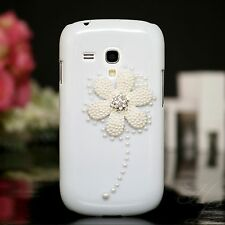 Samsung Galaxy S Duos s7562 Hard Case Case Pouch Beads Stones 3d Flower White