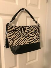 Black Leather and Zebra Print Hand / Shoulder Bag New without Tags