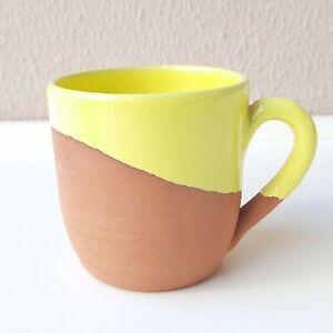 Earthenware Cup Handmade, Natural Terracotta Coffee Beverage Mug Yellow