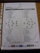 21/11/2012 Colour Teamsheet: Arsenal v Montpellier [Champions league] . Thanks f