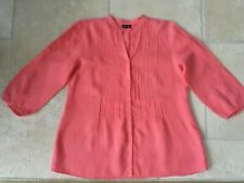GERRY WEBER PRETTY CORAL RED  TUNIC PINTUCK SMOCK BLOUSE PRISTINE SZ 14