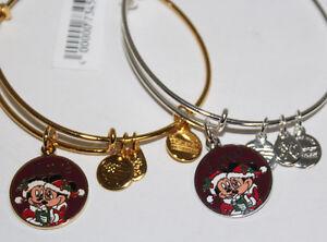 Disney Alex & Ani Santa Mickey & Minnie Mouse Love Charm Bracelet Bangle NEW