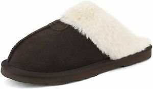Women House Slippers Suede Faux Fur Comfort Slip On Indoor Slippers Shoes
