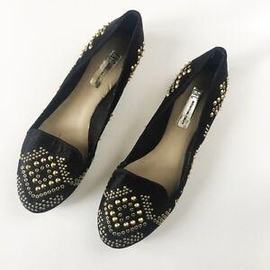 INC Black & Gold Studded Loafer Flats Size 8M
