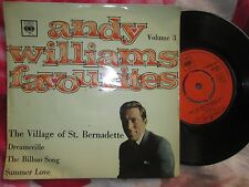 Andy Williams ‎– Favourites Volume 3 CBS EP 6056 UK 45 7inch Vinyl Single