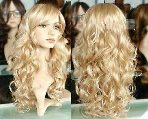 Femme Mode Perruque Frisure Longue Cheveux Crêpelés Synthétique Blond Cosplay FR