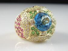 Ruby Diamond Ring 14K Yellow Gold Blue Topaz Green Tsavorite Garnet Fine Size 7