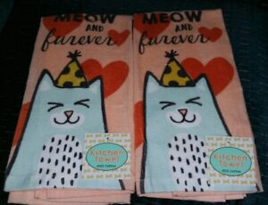 Ritz Cat Cats Super Cute Meow and Forever Soft Thick Kitchen Towels x 2