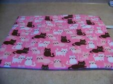"""COVER ONLY FOR ELECTRIC HEATING PAD ~CATS ON ROSE PINK FLANNEL 12"""" X 15"""" #2700"""
