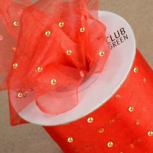 CUT ORGANZA BRIGHT RED RIBBON WITH GOLD DOT 50mm x 25 METERS FULL REEL