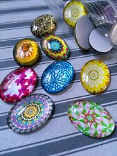 4 Glass Cabochons Oval 25x18 Assorted Cabochons Oval Cabochons Flatbacks