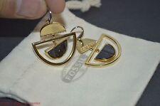 Fossil Brand Open Work Gold-tone Drop Chandelier Earrings Crystal Detailing $58
