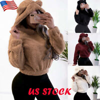 Women Fluffy Plush Hooded Sweater Loose Pullover Top Winter Hoodie Jumper Blouse