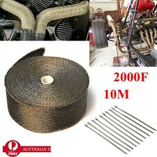 2000F EXHAUST HEAT WRAP TITANIUM Gold 10M X 50MM  + 10 STAINLESS TIES INSULATION