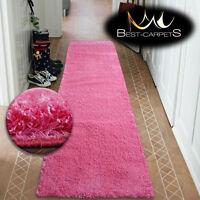 Modern Hall Runners soft SHAGGY Carpet 5cm Pink Width 50-200cm extra long RUGS