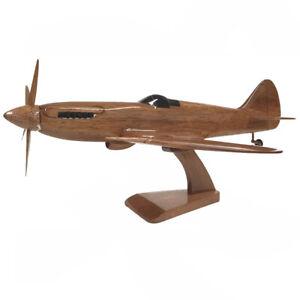 RAF Supermarine Spitfire British WW 2 Fighter Aircraft Wooden Desktop Model.