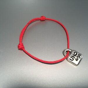 New Uno De 50 Unisex men women's Silver Tone Padlock Logo Red Luck Bracelet