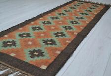 Long Kilim Rug Runner Wool Jute Indian 60x180cm 2x6' Kelim Orange Green Mexico