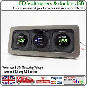 12v 24v Green Battery Voltage Display USB Port C-Line Motorhome HGV Truck Van VW
