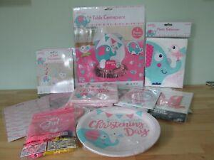 Christening Pink Elephant Bumper Box - Table Decorations - Plates, Napkins +