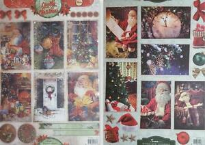 A4 Card Toppers Vintage Christmas Tree Santa Bells Presents Stocking NEW