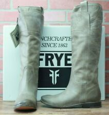 Frye Leather Paige Tall Riding Boots Grey Gray New With Box 77534 Size 7 M