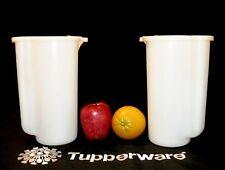 Tupperware 2 WHITE flip top 2 Qt Pitchers ~vtg Half Gallon Beverage Pour n Store