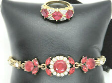 ruby 3-stone ring and matching bracelet jewelry set, ring size 6