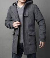 Men New Winter Fashion Casual Jacket Wool Parka Coat Hooded Outwear Overcoat E09